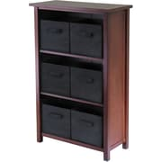 Winsome Verona Wood 3-Section M Storage Shelf With 6 Foldable Fabric Baskets, Walnut/Black