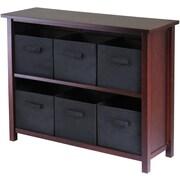 Winsome Verona Wood 2-Section W Storage Shelf With 6 Foldable Fabric Baskets, Walnut
