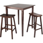 """Winsome 38.9"""" x 33.8"""" Wood Square Kingsgate High/Pub Dining Table With Saddle Stool, Antique Walnut"""