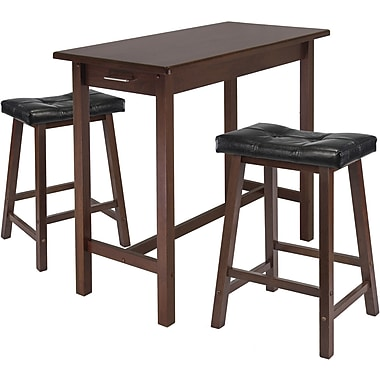 Winsome 33.27in. x 39.37in. x 19.69in. Wood Kitchen Island Table With 2 Cushioned Stool, Antique Walnut