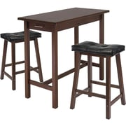 "Winsome 33.27"" x 39.37"" x 19.69"" Wood Kitchen Island Table With 2 Cushioned Stool, Antique Walnut"