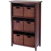 Winsome Milan Wood 7-Pc Cabinet/Shelf With 6 Small Rattan Baskets, Antique Walnut