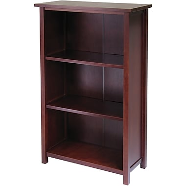 Winsome Milan Solid/Composite Wood 4-Tier Medium Storage Shelf or Bookcase, Antique Walnut