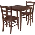 Winsome Groveland 29.13in. x 29.53in. x 29.53in. Wood Square Dining Table With 2 Chair, Antique Walnut
