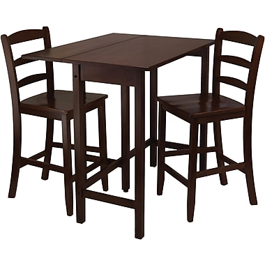 Winsome Lynnwood 35.43in. x 39.39in. x 30in. Wood Drop Leaf High Table With 2 Chair, Antique Walnut