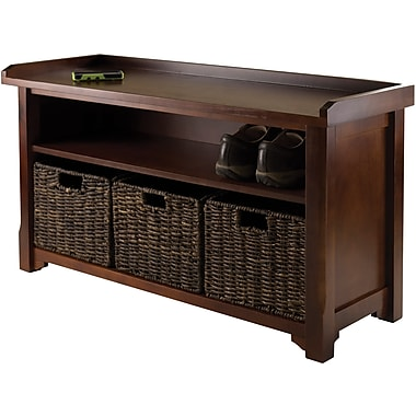Winsome Granville Storage Bench With 3 Foldable Baskets, Antique Walnut