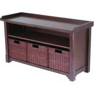 Winsome Storage Bench With Shelf and 3 Small Baskets, Antique Walnut