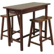 """Winsome 33.27"""" x 39.37"""" x 19.69"""" Wood Kitchen Island Table With 2 Saddle Stool, Antique Walnut"""
