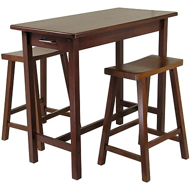 Winsome 33.27in. x 39.37in. x 19.69in. Wood Kitchen Island Table With 2 Saddle Stool, Antique Walnut