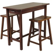 "Winsome 33.27"" x 39.37"" x 19.69"" Wood Kitchen Island Table With 2 Saddle Stool, Antique Walnut"