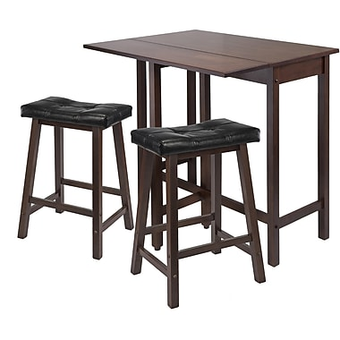 Winsome 35.43in. x 39.39in. x 30in. Lynnwood Drop Leaf Kitchen Table With 2 Cushion Stool, Antique Walnut