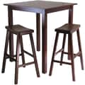 Winsome Parkland 38.98in. x 33.86in. Wood Square High/Pub Table With 2 Saddle Seat Stool, Antique Walnut