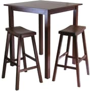 "Winsome Parkland 38.98"" x 33.86"" Wood Square High/Pub Table With 2 Saddle Seat Stool, Antique Walnut"