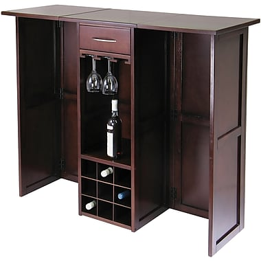 Winsome Newport 40.16in. x 50in. x 17.87in. Wood Expandable Counter Wine Bar, Antique Walnut