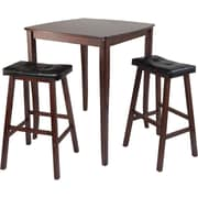 """Winsome 38.9"""" x 33.8"""" Square inglewood High/Pub Dining Table With 2 Cushioned Stool, Antique Walnut"""