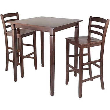 Winsome 38.9in. x 33.8in. Square High Kingsgate /Pub Dining Table With Ladder Back Stool, Antique Walnut