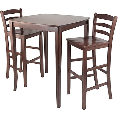 Winsome 38.9in. x 33.8in. Square inglewood High/Pub Dining Table With Ladder Back Stool, Antique Walnut