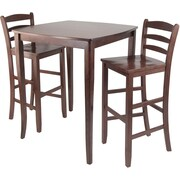 """Winsome 38.9"""" x 33.8"""" Square inglewood High/Pub Dining Table With Ladder Back Stool, Antique Walnut"""