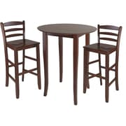 "Winsome Fiona 38.98"" x 33.66"" x 33.66"" Wood Round High Table With Ladder Back Stool, Antique Walnut"