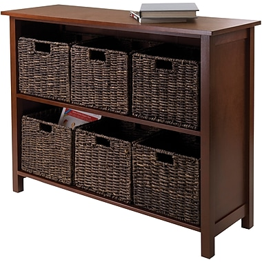 Winsome Granville Beech Wood 7-Pc 2-Section Storage Shelf With 6 Foldable Corn Husk Baskets, Walnut