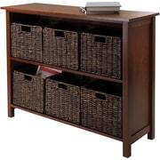 Winsome Granville Beech Wood 7-Pc 2-Section Storage Shelf With 6 Foldable Corn Husk Baskets, Walnut