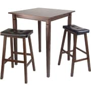 """Winsome 38.9"""" x 33.8"""" Square High Kingsgate /Pub Dining Table With 2 Cushioned Stool, Antique Walnut"""