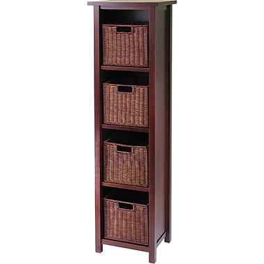 Winsome Milan Wood 5-Pc Storage Shelf With 4 Small Foldable Rattan Baskets, Antique Walnut