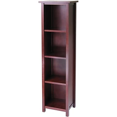 Winsome Milan Solid/Composite Wood 5-Tier Tall Storage Shelf or Bookcase, Antique Walnut