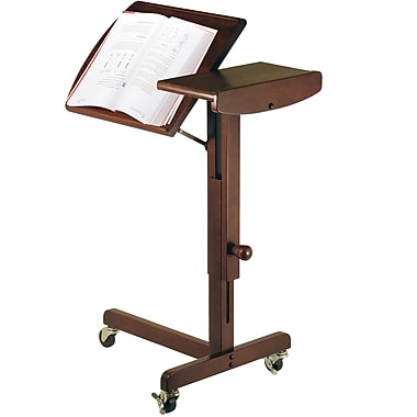Winsome Wood Top Adjustable Height Laptop Cart, Antique Walnut