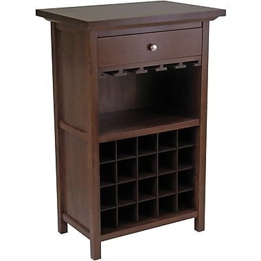 Winsome 40.4in. x 26.6in. x 15.7in. Wood Wine Cabinet With 1-Drawer, Glass Rack, Antique Walnut