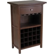 "Winsome 40.4"" x 26.6"" x 15.7"" Wood Wine Cabinet With 1-Drawer, Glass Rack, Antique Walnut"