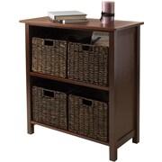 Winsome Granville Wood 5-Pc 2-Section Storage Shelf With 4 Foldable Corn Husk Baskets, Walnut