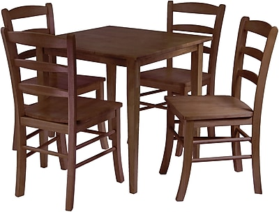 """""Winsome Groveland 29.13"""""""" x 29.53"""""""" x 29.53"""""""" Wood Square Dining Table With 4 Chair, Antique Walnut"""""" 55853"
