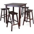 Winsome Parkland 38.98in. x 33.86in. Wood Square High/Pub Table With 4 Saddle Seat Stool, Antique Walnut