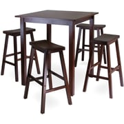 "Winsome Parkland 38.98"" x 33.86"" Wood Square High/Pub Table With 4 Saddle Seat Stool, Antique Walnut"