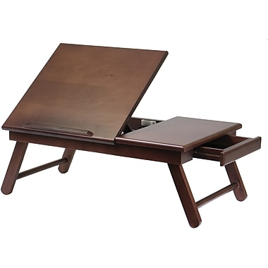 Winsome Flip Top Lap Desk With Drawer and Foldable Legs, Antique Walnut