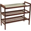 Winsome Mudroom Beech Wood Shoe Rack With Tray and Shelf, Antique Walnut
