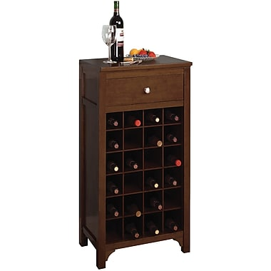Winsome 37.6in. x 19.1in. x 12.6in. Wood Rectangular Modular Wine Cabinet, Antique Walnut