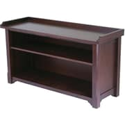 Winsome Milan Solid/Composite Wood Bench With Storage Shelf, Antique Walnut