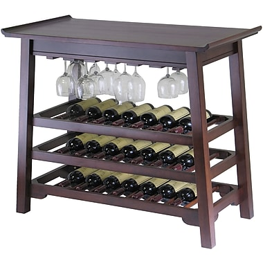 Winsome Chinois 32in. x 37in. x 20in. Wood Rectangular Console Wine Table With Glass Rack, Antique Walnut