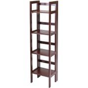 Winsome Solid/Composite Wood 4-Tier Narrow Folding Shelf, Antique Walnut