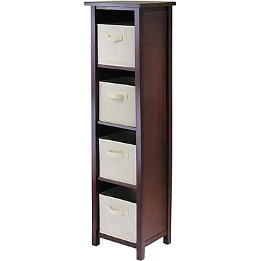 Winsome Verona Wood 4-Section N Storage Shelf With 4 Foldable Fabric Baskets, Walnut/Beige