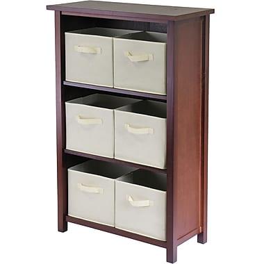 Winsome Verona Wood 3-Section M Storage Shelf With 6 Foldable Fabric Baskets, Walnut/Beige