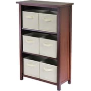 Winsome Verona Wood 3-Section M Storage Shelf With 6 Foldable Fabric Baskets, Walnut/Beige