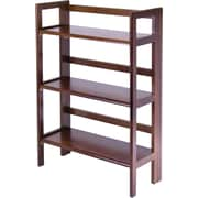 Winsome Solid/Composite Wood 3-Tier Wide Folding and Stackable Shelf, Antique Walnut