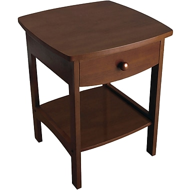 Winsome 22in. x 18in. x 18in. Wood Curved End Table/Night Stand With One Drawer, Brown