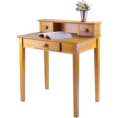 Winsome Studio Beech Wood Writing Desk With Hutch, Honey
