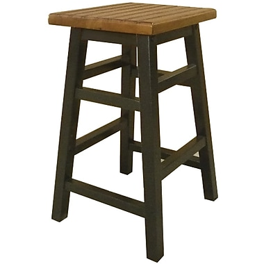 Carolina Cottage Colby Stave Wood Counter Stool, Antique Black