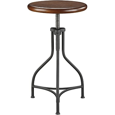 Carolina Cottage Logan Metal Adjustable Bar Stool With Wood Seat, Brown