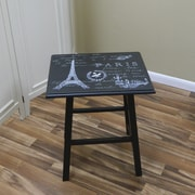 "Carolina Cottage 23.38"" x 20"" x 16"" Wood Eiffel Tower Accent Table, Antique Black"
